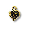 Mini Charm - Spiral Heart Drop 9x10mm Pewter Antique Gold Plated (1-Pc)