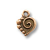Mini Charm - Spiral Heart Drop 9x10mm Pewter Ant. Copper Plated (1-Pc)