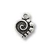Mini Charm - Spiral Heart Drop 9x10mm Pewter Ant. Silver Plated (1-Pc)
