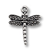 Charm - Dragonfly 16mm Pewter Antique Silver Plated (1-Pc)