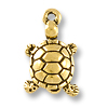 Charm - Turtle Drop 18x11mm Pewter Antique Gold Plated (1-Pc)
