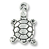 Charm - Turtle Drop 18x11mm Pewter Antique Silver Plated (1-Pc)