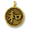 Charm - Chinese Harmony 12mm Pewter Antique Gold Plated (1-Pc)
