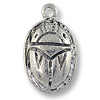 Charm - Scarab 27x13mm Pewter Antique Silver Plated (1-Pc)