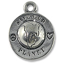 Charm - Save Our Planet 22x17mm Pewter Antique Silver Plated (1-Pc)
