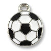 Charm - Soccer Ball 15x12mm Pewter Antique Silver Plated (1-Pc)