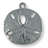 Charm - Sand Dollar 24mm Pewter Antique Silver Plated (1-Pc)