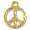Charm - Peace Sign 15mm Pewter Bright Gold Plated (1-Pc)