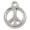 Charm - Peace Sign 15mm Pewter Bright Rhodium Plated (1-Pc)