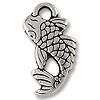 Charm - Koi 10x18mm Pewter Antique Silver Plated (1-Pc)