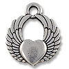 Charm - Winged Heart 15x17mm Pewter Antique Silver Plated (1-Pc)