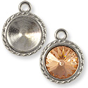 Charm - Round Frame 12mm Pewter Bright Silver Plated (1-Pc)