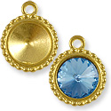 Charm - Round Frame 12mm Pewter Bright Gold Plated (1-Pc)