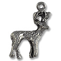 Charm - Deer 25x15mm Pewter Antique Silver Plated (1-Pc)
