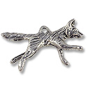 Charm - Fox 36x17mm Pewter Antique Silver Plated (1-Pc)