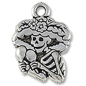 Charm - Catrina 22x16mm Pewter Antique Silver Plated (1-Pc)