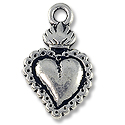 Charm - Sacred Heart Milagro 21x13mm Pewter Ant. Silver Plated (1-Pc)