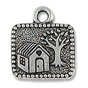 Charm - Mi Casa 17x15mm Pewter Antique Silver Plated (1-Pc)