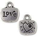 Charm - Love 14x13mm Pewter Antique Silver Plated (1-Pc)
