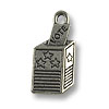 10x21mm Antique Silver Plated Voting Box Pewter Charm (1-Pc)