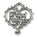Charm - Grandmother 20x18mm Pewter Antique Silver Plated (1-Pc)