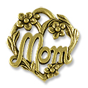 Charm - Mom 20x19mm Pewter Antique Gold Plated (1-Pc)