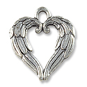 Angel Wing Heart Charm 20x17mm Pewter Antique Silver Plated (1-Pc)