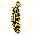 Charm - Small Feather 23x7mm Pewter Antique Gold Plated (1-Pc)