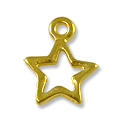Charm - Open Star 10mm Bright Gold Plated (1-Pc)