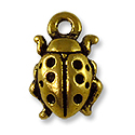 Charm - Ladybug 8x13mm Pewter Antique Gold Plated (1-Pc)