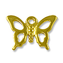 Charm - Open Butterfly 12x16mm Pewter Bright Gold Plated (1-Pc)