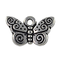 Charm - Spiral Butterfly 10x15mm Pewter Antique Silver Plated (1-Pc)