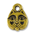 Charm - Kitty Face 8x11mm Pewter Antique Gold Plated (1-Pc)