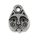 Charm - Kitty Face 8x11mm Pewter Antique Silver Plated (1-Pc)