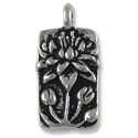 Charm - Floating Lotus 9x17mm Pewter Antique Silver Plated (1-Pc)