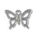 Charm - Open Butterfly 12x16mm Pewter Bright Silver Plated (1-Pc)