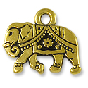 Charm - Gita the Elephant 12x15mm Pewter Antique Gold Plated (1-Pc)