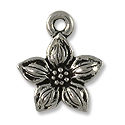 Charm - Star Jasmine 14mm Pewter Antique Silver Plated (1-Pc)