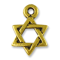 Charm - Star of David 10mm Pewter Antique Gold Plated (1-Pc)