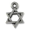 Charm - Star of David 10mm Pewter Antique Silver Plated (1-Pc)