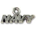Charm - Navy 8x18mm Antique Silver Plated (1-Pc)
