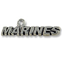 Charm - Marines 8x30mm Antique Silver Plated (1-Pc)