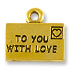 Charm - Love Letter 15x10mm Pewter Antique Gold Plated (1-Pc)