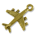 Charm - Airplane 14x20mm Pewter Antique Gold Plated (1-Pc)