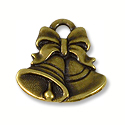 Charm - Christmas Bells 16x16mm Pewter Antique Brass Plated (1-Pc)