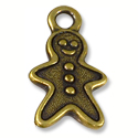 Charm - Gingerbread Man 20x11mm Pewter Antique Brass Plated (1-Pc)