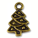 Charm - Christmas Tree 20x12mm Pewter Antique Brass Plated (1-Pc)