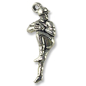 Baseball Pitcher Charm 10x24mm Pewter Antique Silver Plated (1-Pc)