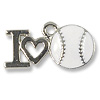 I Love Baseball Charm 16x20mm Pewter Antique Silver Plated (1-Pc)