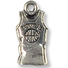 Basketball Jersey Charm 8x17mm Pewter Antique Silver Plated (1-Pc)